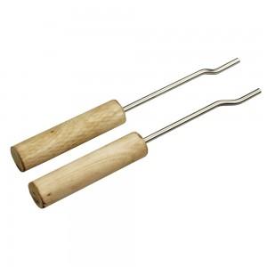 2 Handgriffe (unbehandeltes Holz) aus Edelstahl, I-Format - ideal z.B. für Gusseisen-Grillroste geeignet