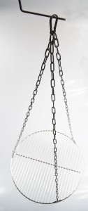 Edelstahl Kettensatz + Seilwirbel für Grill bis Ø 70 cm + 4 Karabiner Grillrost