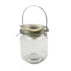 Solarlampe Einmachglas mit Metallhenkel Klar Einweckglas Dekoration Solarlicht