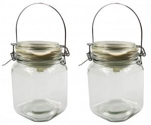 2 x Solarlampe Einmachglas mit Metallhenkel Klar Einweckglas Dekoration Solarlicht